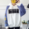 Cartoon Prints Drawstring Hoodie Loose Top - Blue
