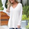 Simple V Neck Full Sleeves Loose T-Shirt - White