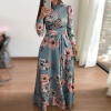 Floral Printed Long Maxi Dress - Sea Green