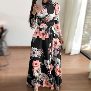 Floral Printed Long Maxi Dress - Black