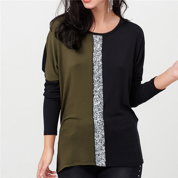 Sequins Decorative Two Contrast T-Shirt - Green