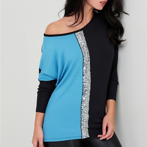 Sequins Decorative Two Contrast T-Shirt - Blue