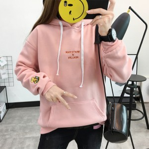 Plain Loose Duo Pocket Hoodie T-Shirt - Pink