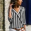 Striped Wrap V Neck Blouse Shirt