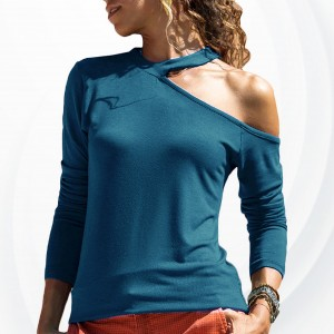 One Shoulder Halter Neck Casual T-Shirt - Blue
