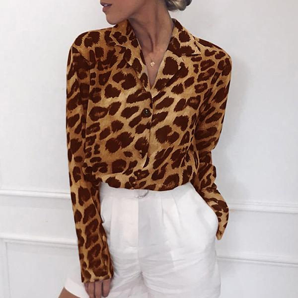 Leopard Chiffon Light Fabric Printed Casual Shirt - Brown
