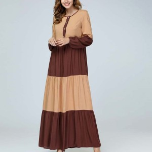 Color Mosaic Striped Loose Muslim Dress