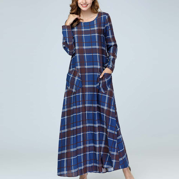 Check Prints Long Muslim Casual Dress - Blue