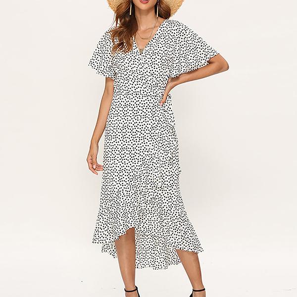 Irregular Hem V Neck Beach Wear Long Dress - White