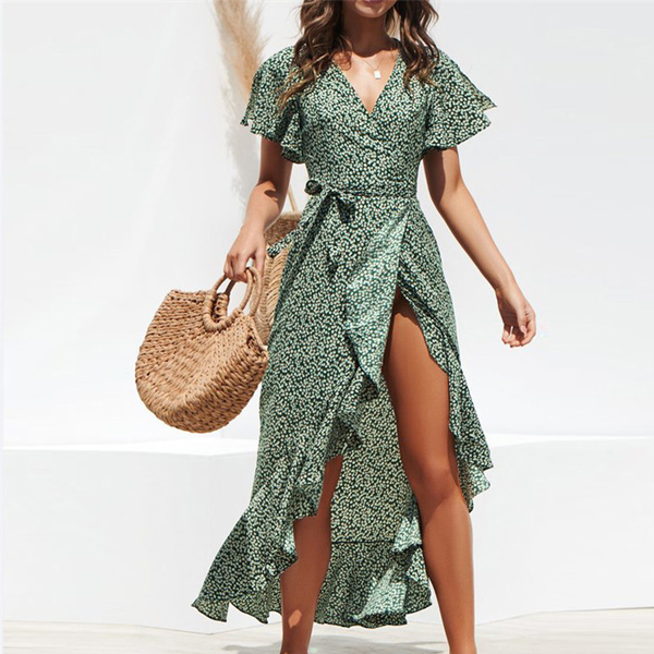 Irregular Split Printed Beach Wear Long Dress - Green