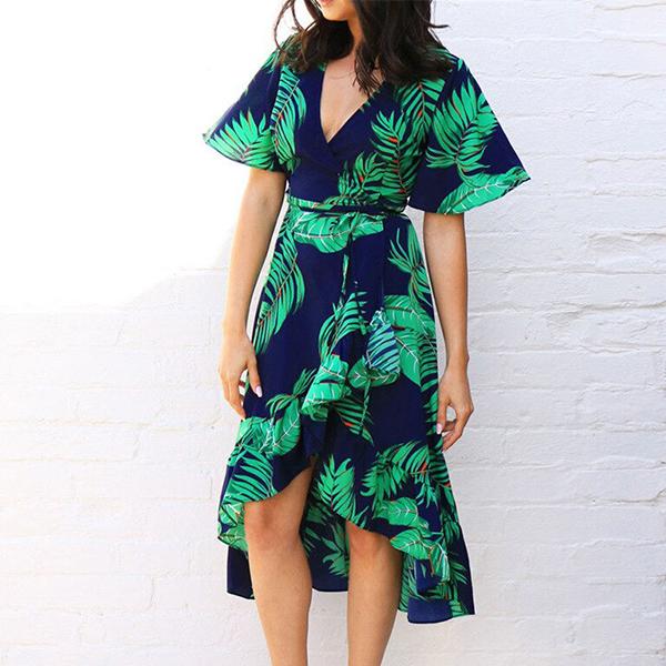 Short Sleeves Printed Beach Dress - Multicolor