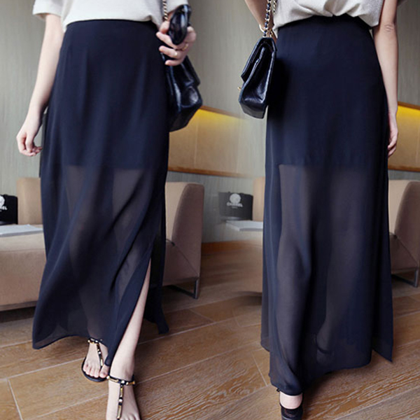 Split Cut Out Transparent Long Skirt - Black