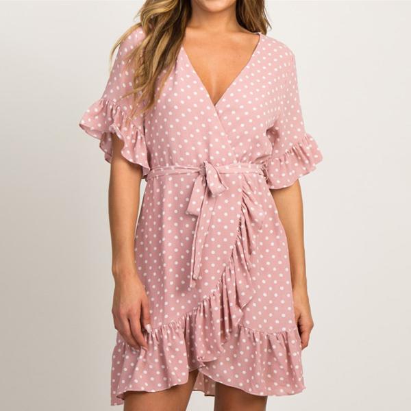 V Neck Polka Net Summer Dress - Pink