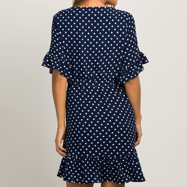 V Neck Polka Net Summer Dress - Dark Blue