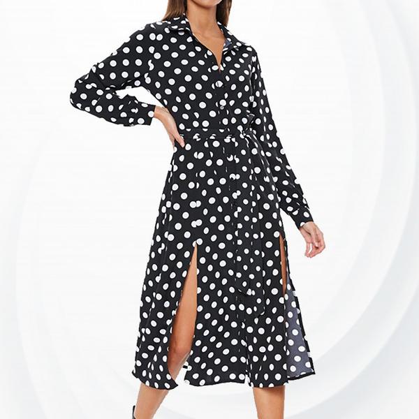 Polka Prints Split Hem Midi Summer Dress - Black