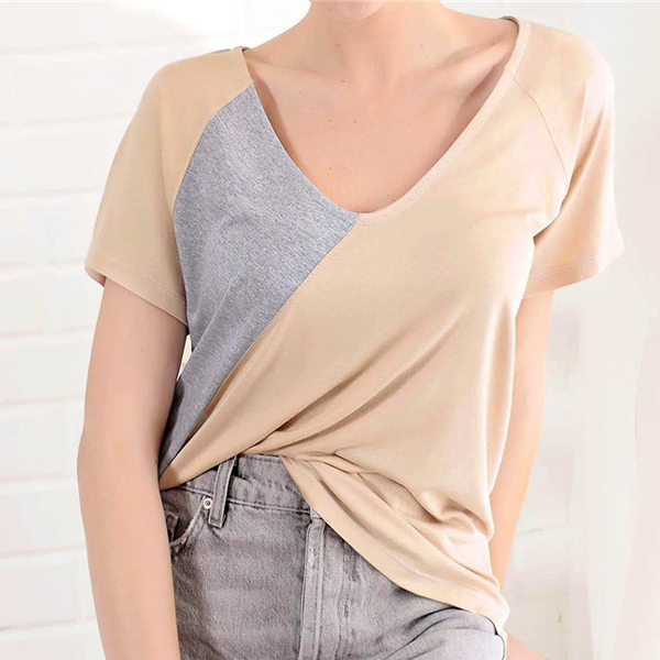 Contrast V Neck Plain Summer Wear Top - Khaki