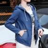 Zipper Closure Female Hooded Jean Jackets - Dark Blue