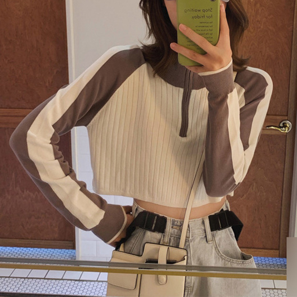 Zipper Stand Neck Ribbed Mini Top - Khaki