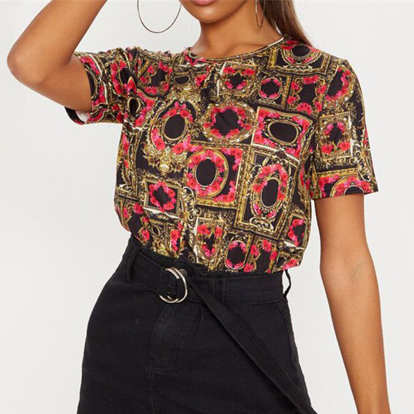 Digital Prints Chiffon Party Wear Blouse Top - Multicolor