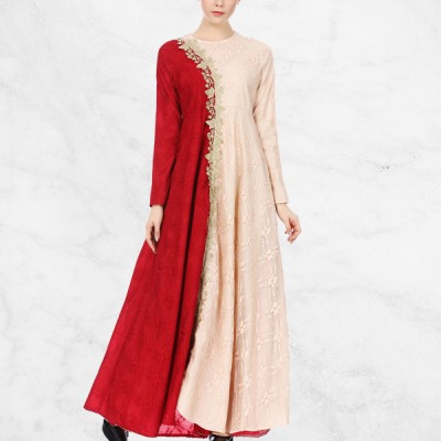 Embroidery Lace Red Contrast Muslim Dress - Apricot