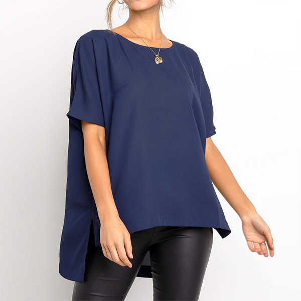 Chiffon Summer Wear Round Neck Blouse Shirt - Dark Blue