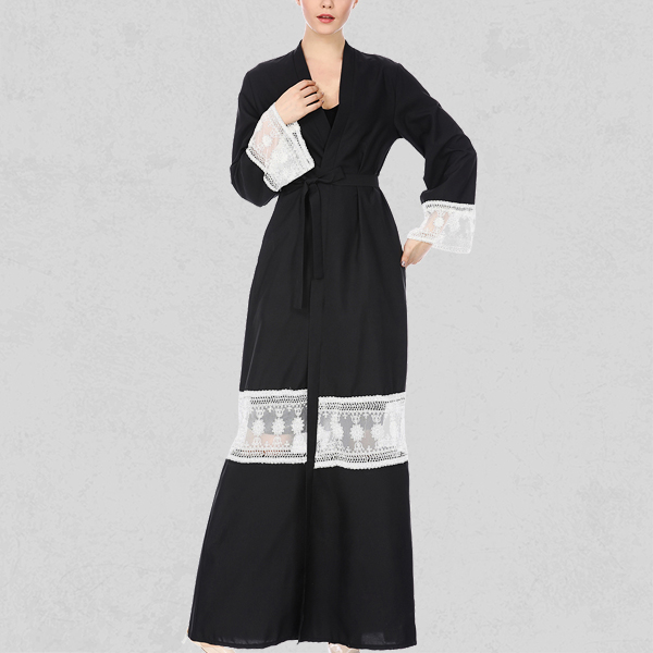 Textured Lace Patch Spliced Muslim Abaya Dress