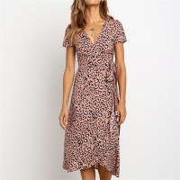 Leopard Prints Short Sleeves Beach Dress - Pink