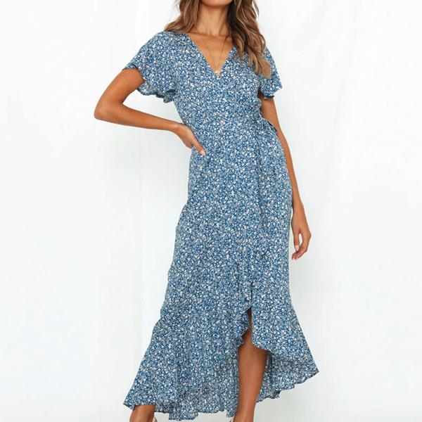 Floral Hem Irregular Short Sleeves Dress - Blue