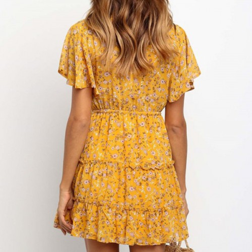V Neck Floral Prints Slash Hem Summer Dress - Yellow