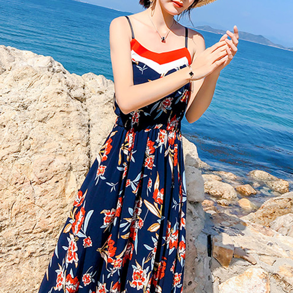 Sleeveless Prints Beach Wear Maxi Dress - Multicolor