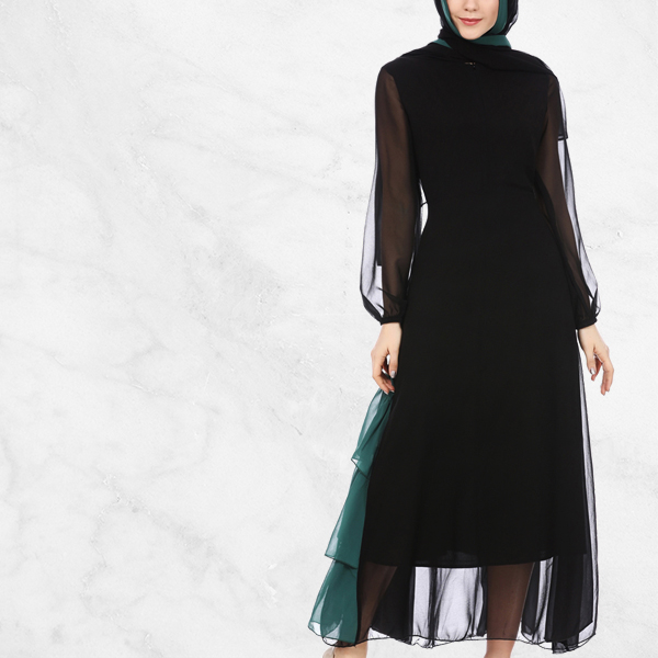 Green Contrast Frilled Hem Muslim Dress