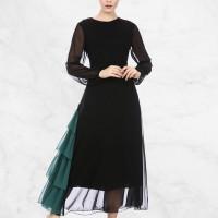 Green Contrast Frilled Hem Muslim Dress