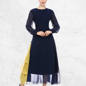 Yellow Contrast Frilled Hem Muslim Dress