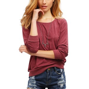 Red Wine Simple Round Neck Top