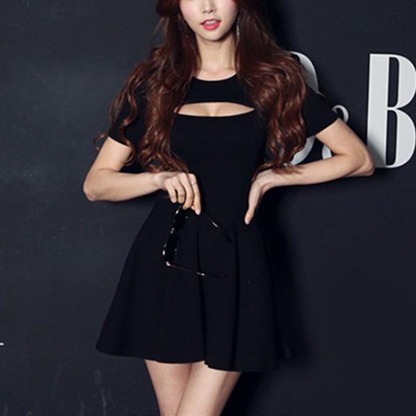 Bust Cut Out Short Sleeves Mini Dress - Black
