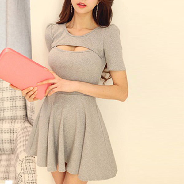 Bust Cut Out Short Sleeves Mini Dress - Grey