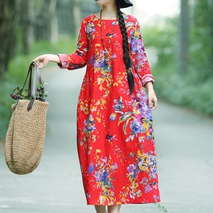 Printed Floral Long Casual Wear Dress - Red