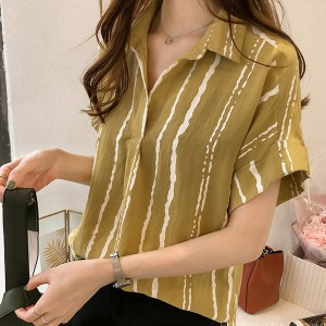 Short Sleeves Shirt Collar Stripes Print Blouse - Yellow