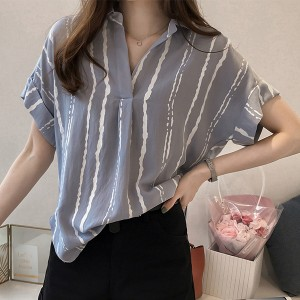 Short Sleeves Shirt Collar Stripes Print Blouse - Grey