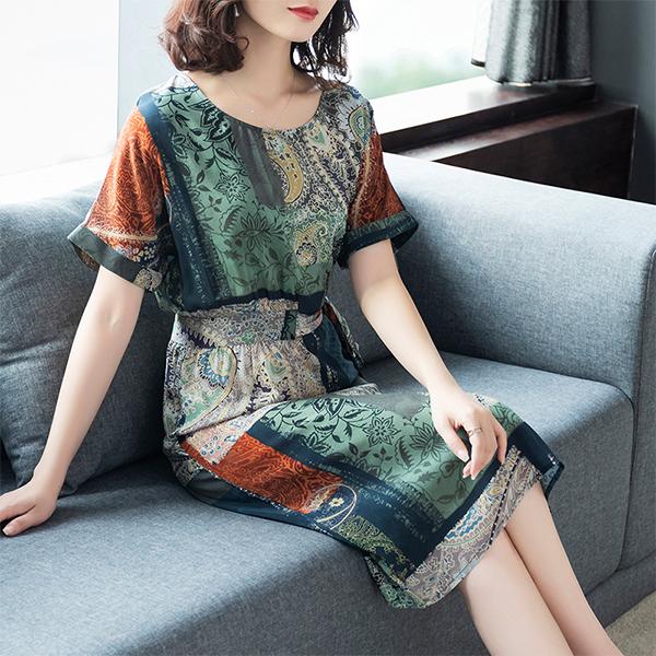 Bohemian Prints Short Sleeves Printed Mini Dress