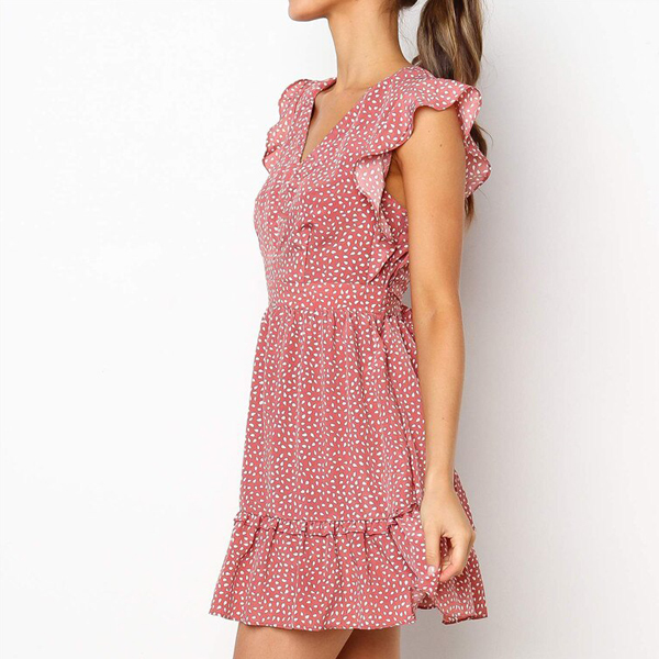V Neck Printed Sleeveless Summer Dress - Pink