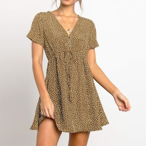 Printed Short Sleeves Beach Dress - Brown
