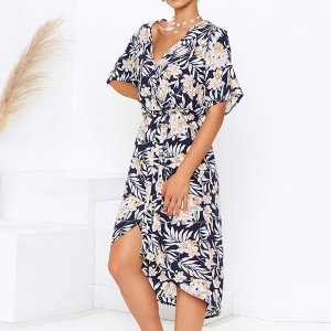 Leaves Print V Neck Beach Summer Dress - Multicolor
