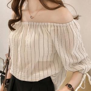 Striped Ruffled Neck Half Sleeves Blouse Shirt - White