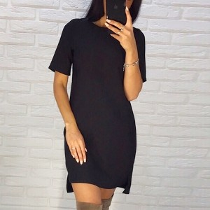 Short Sleeved Formal Black Mini Dress