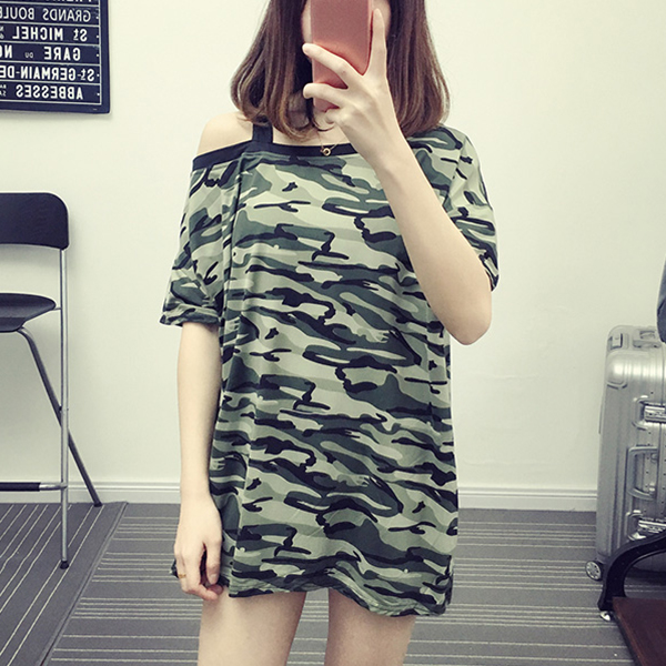 Camouflage Prints Slash Neck Casual T-Shirt - Army Green