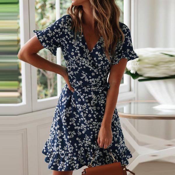 Floral Prints V Neck Summer Beach Dress - Blue