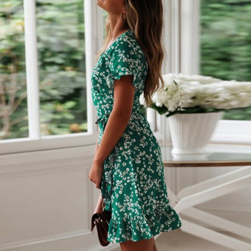 Floral Prints V Neck Summer Beach Dress - Green