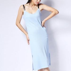 Strap Shoulder Split Hem Casual Midi Dress -Sky Blue