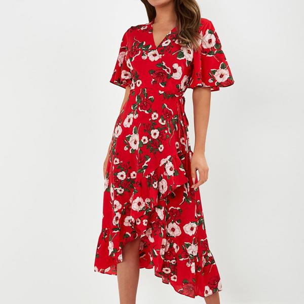 Floral Hem Irregular Half Sleeves Dress - Red